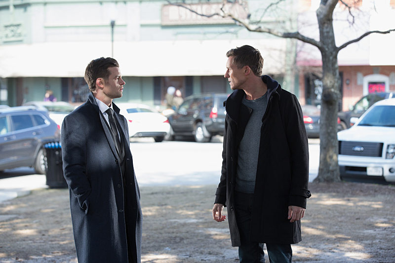 """The Originals -- """"Behind the Black Horizon"""" -- Image Number: OG317b_0090.jpg -- Pictured (L-R): Daniel Gillies as Elijah and Caspar Zafer as Finn -- Photo: Bob Mahoney/The CW -- © 2016 The CW Network, LLC. All rights reserved"""