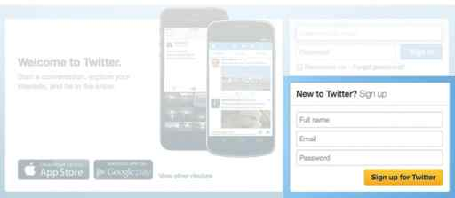 Twitter sign up box