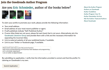 Goodreads Author Application