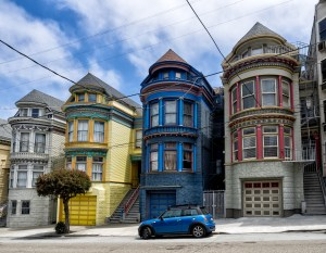 Painted Ladies Victorian Houses In San Francisco