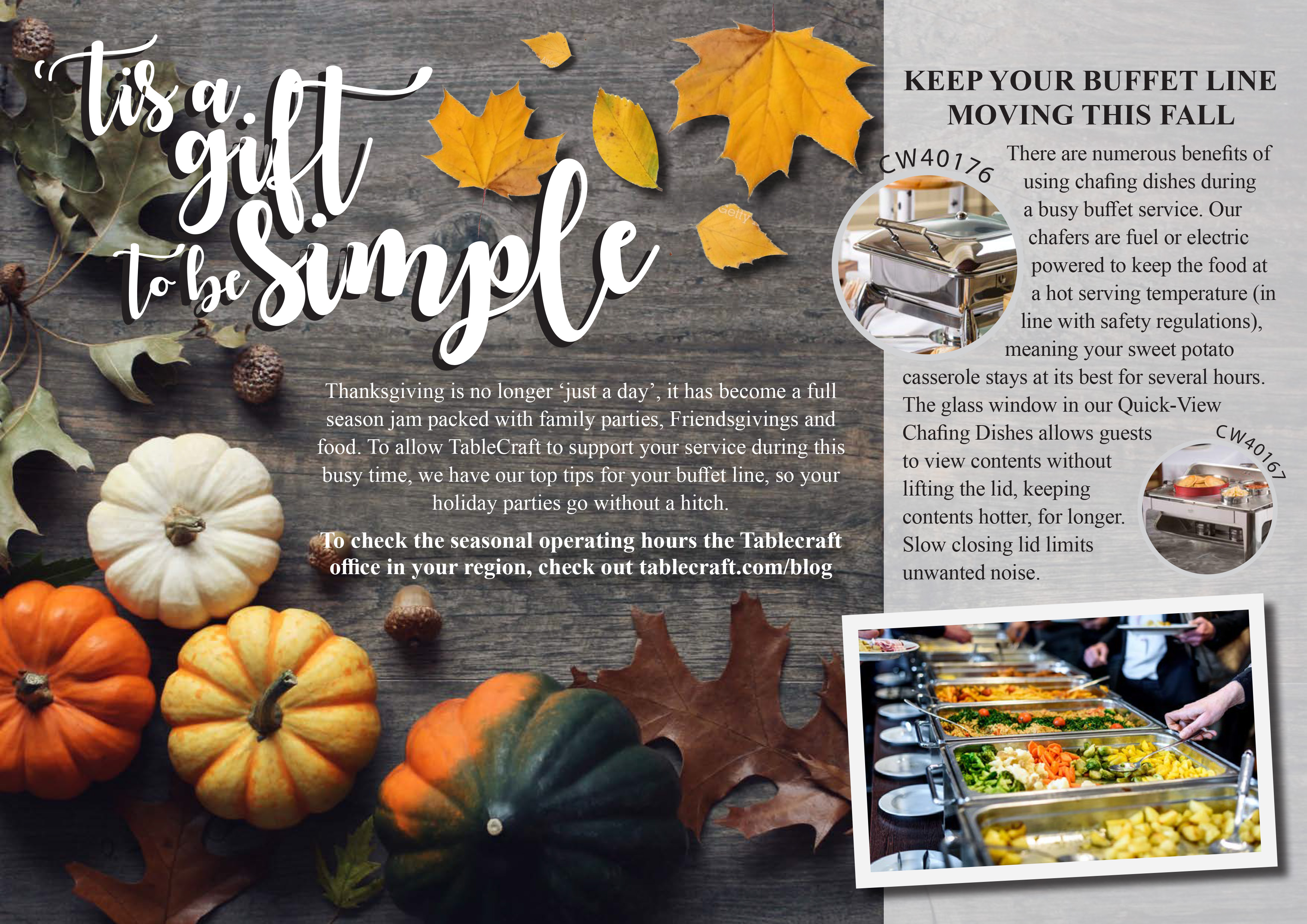 tis a gift to be simple keep your buffet line moving this fall