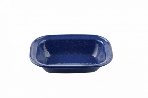 blue enamelware shallow dish