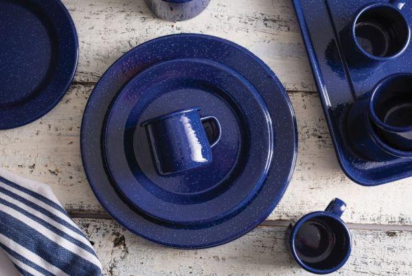 blue enamelware from top