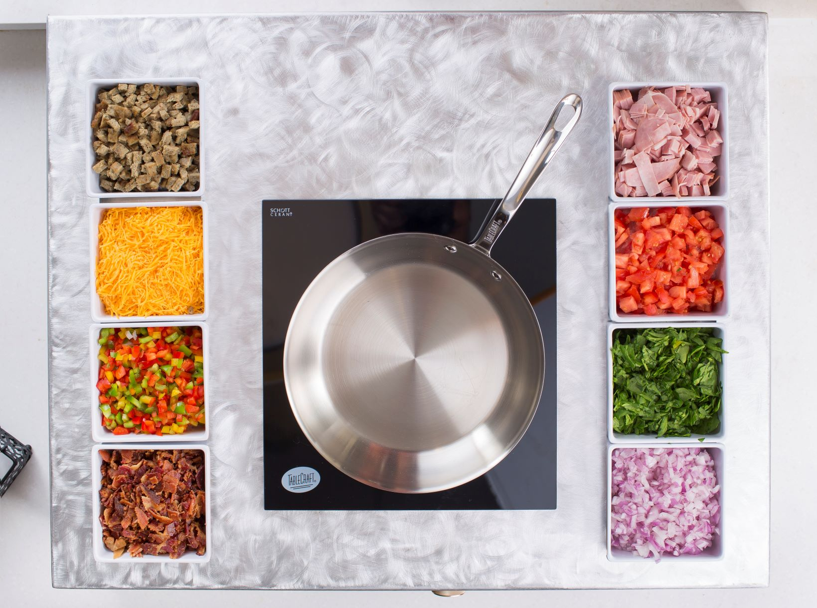 countertop action station with omlete bar
