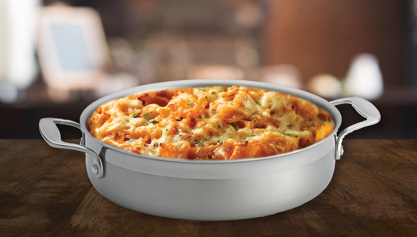 tuna pasta bake in tri ply baking dish on dark table