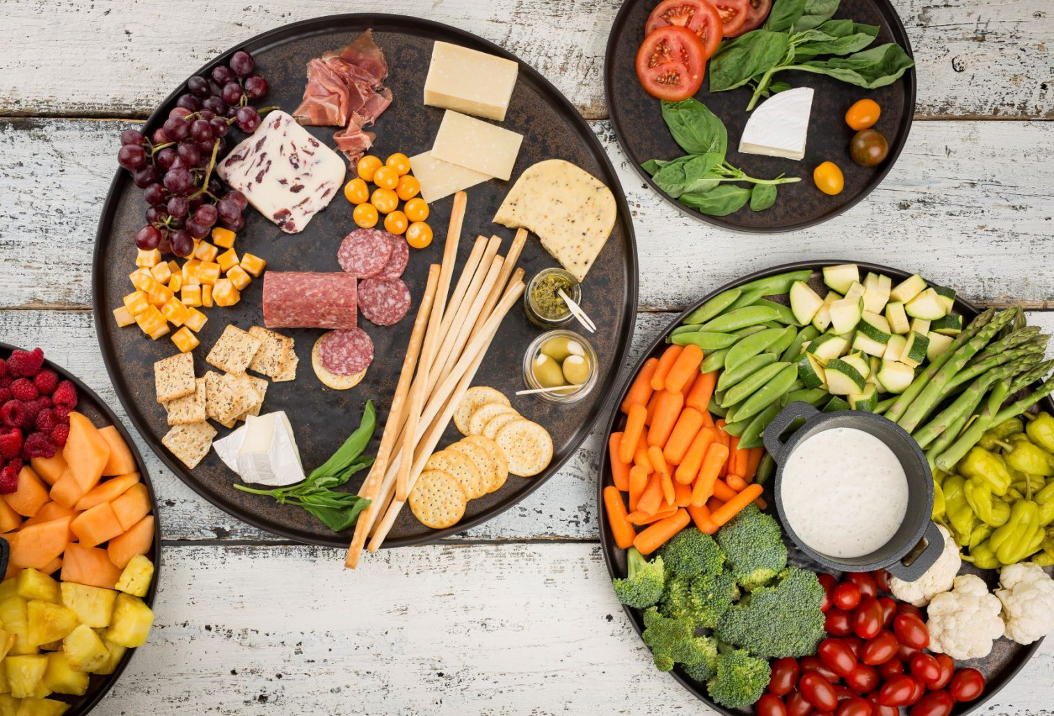 buffet platters with crudite