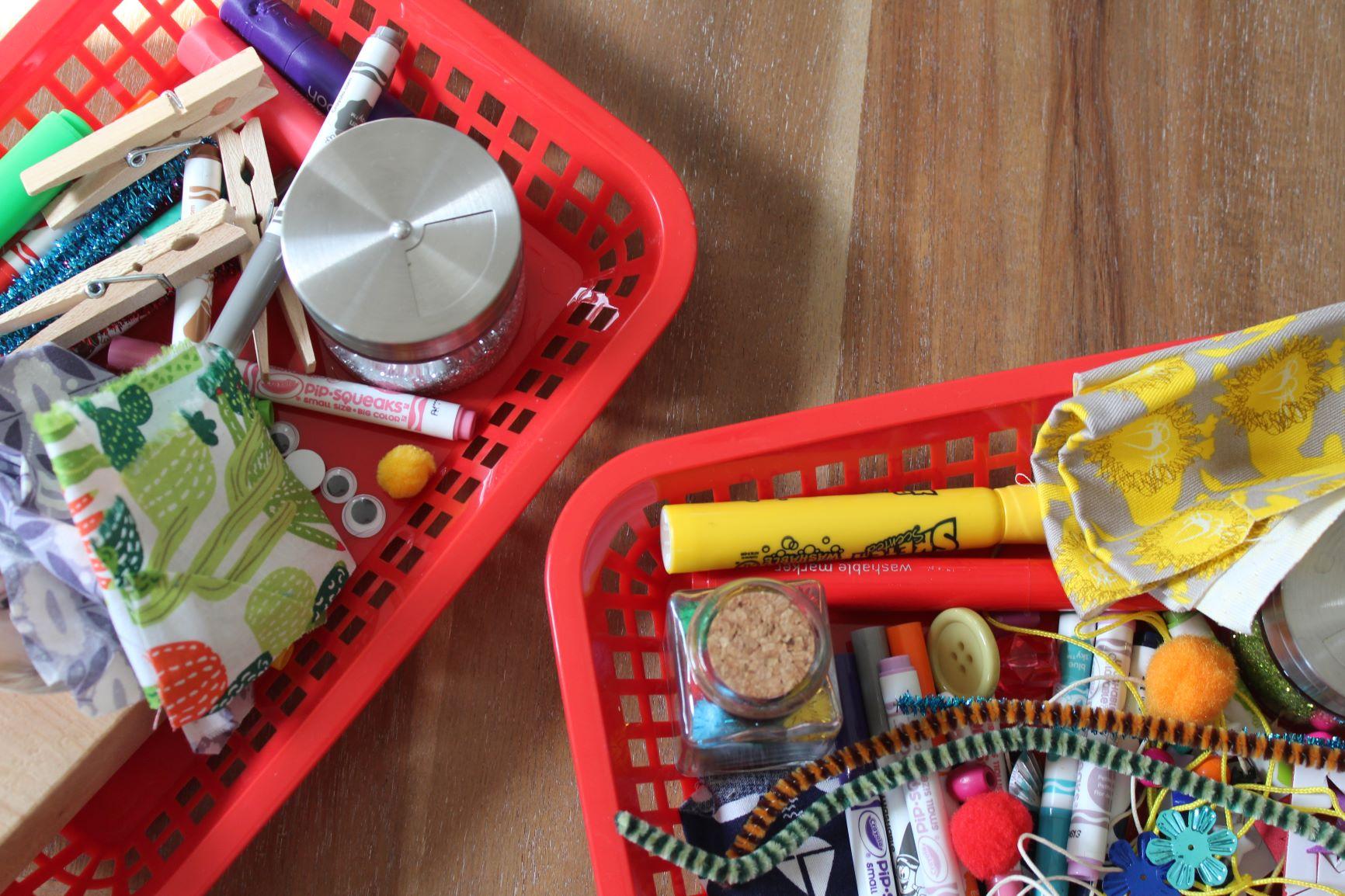 Craft supplies in Baskets