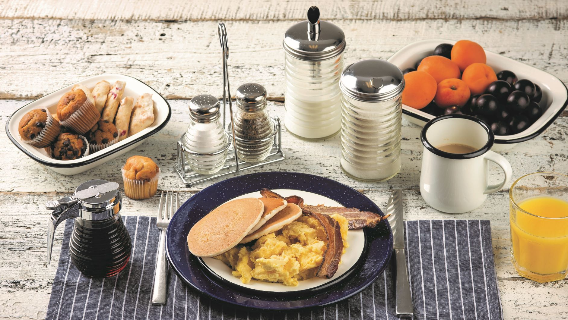 Enamelware Meal with creamy white and blue dishes