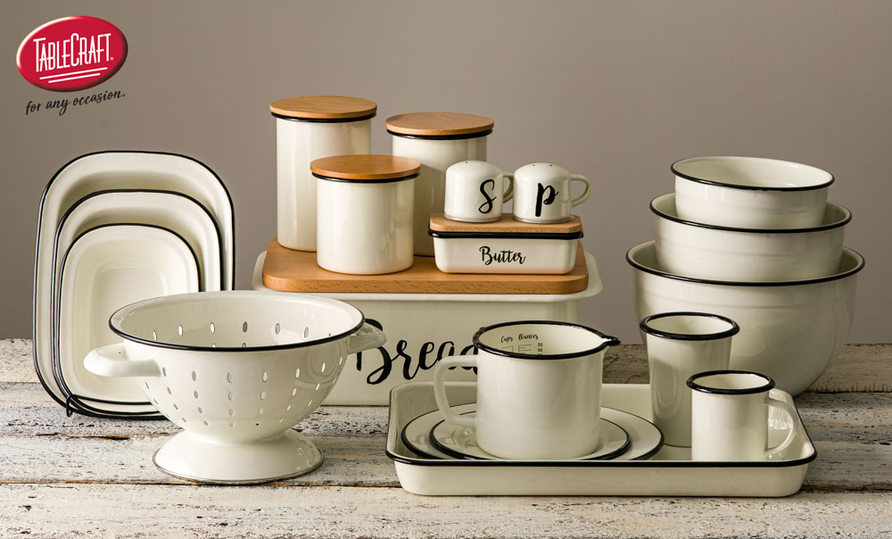 enamelware collection in white with retail logo
