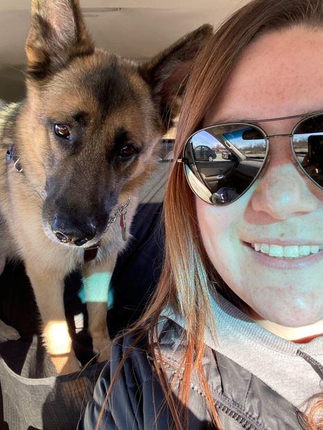 Callie and dog selfie TableCraft