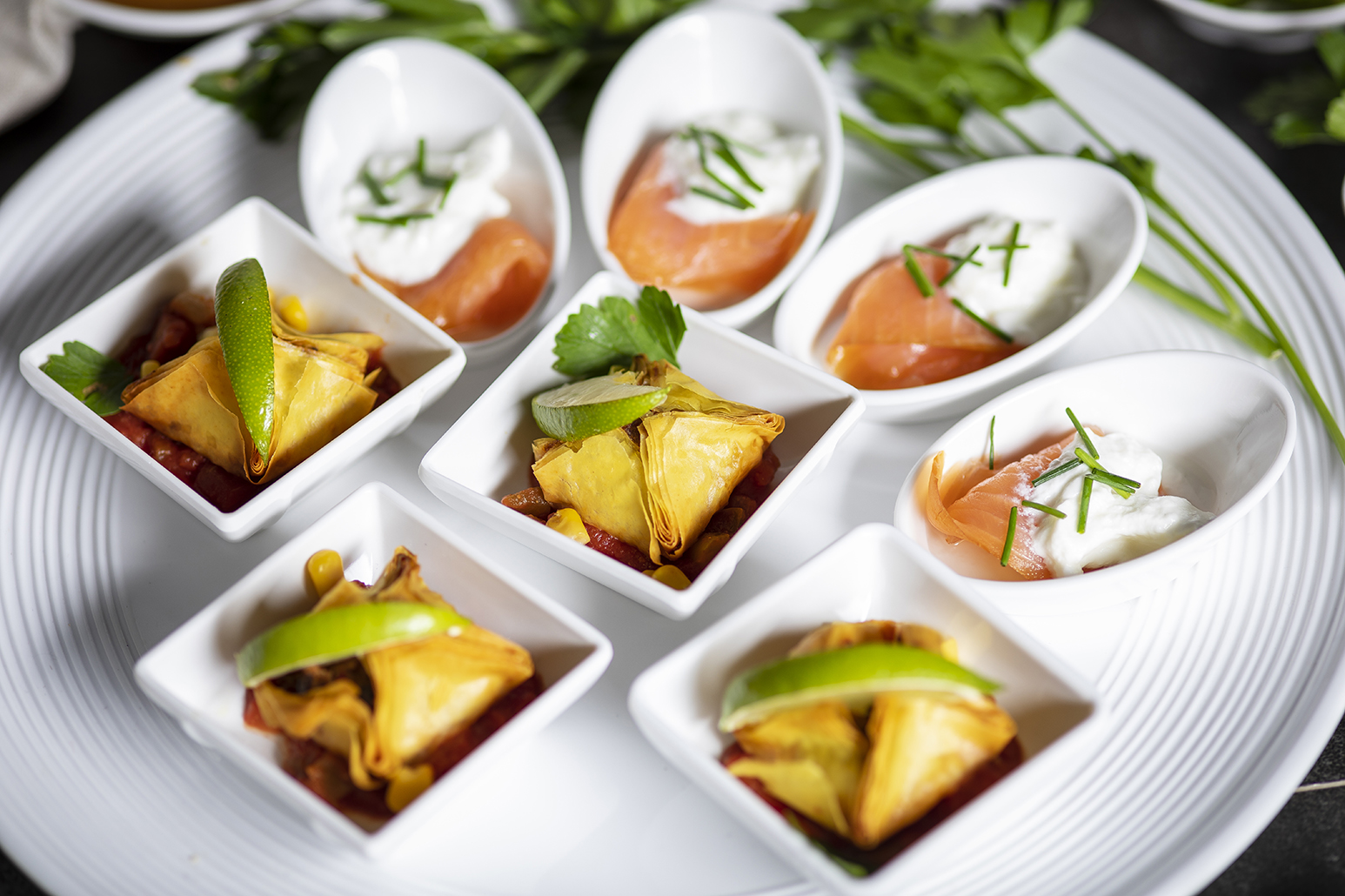 smoked salmon lox tasters indian pastry