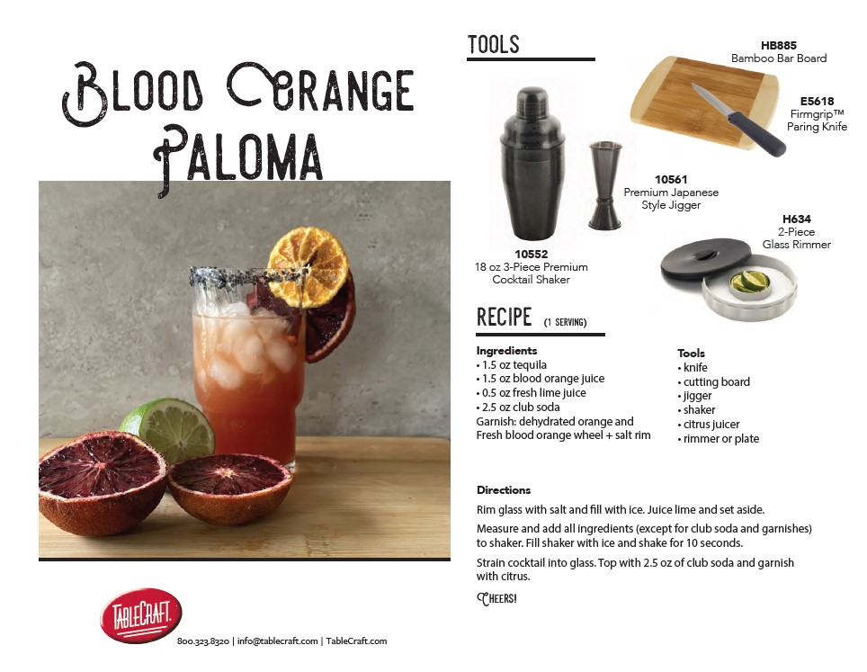 Blood orange paloma recipe card