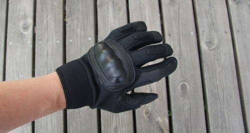 OPPO KK Glove Black facing top up clearly showing finger and knuckle protection.