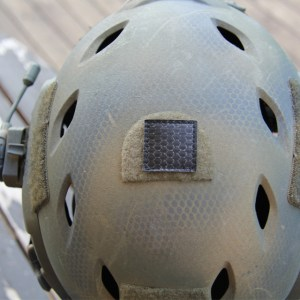 Tactically applied TUG Glint Square on top of helmet