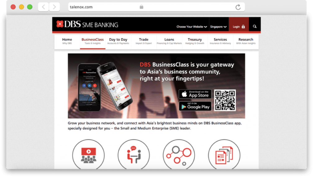 DBS business class page