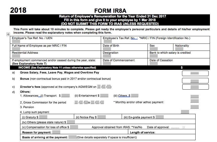 IR8A submission form