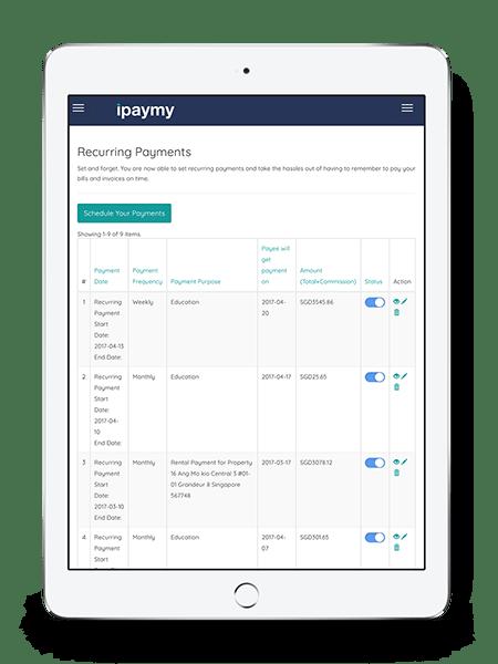 iPaymy platform on iPad