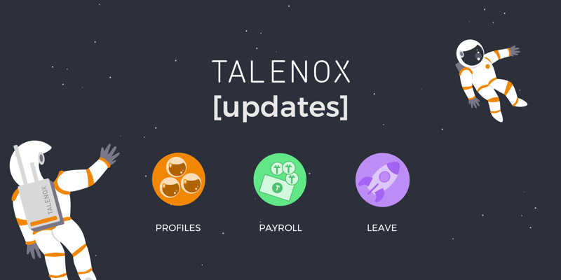 Talenox updates banner with Talenox icons