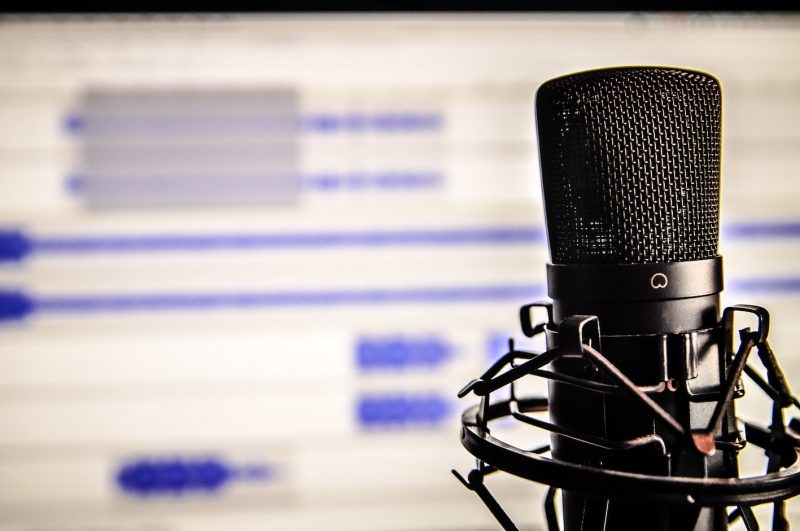 podcast recording with microphone