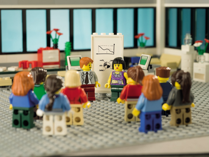 lego figurines in an office