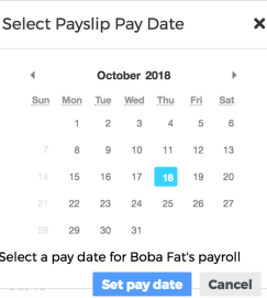 pop-up for pay date selection