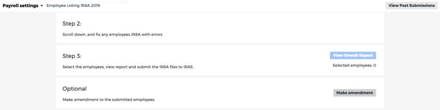 amendment button on IR8A form