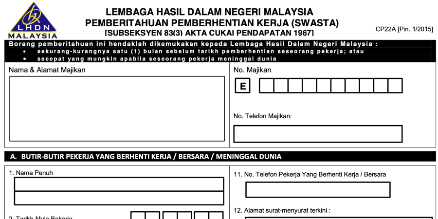 LHDN Form CP22A preview
