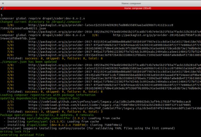 Saída do comando composer install coder