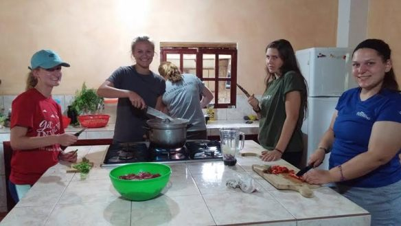 Cassie (far right) and other participants at a cooking school in Ecuador