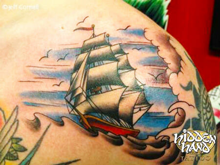 Traditional Ship Tattoo by Jeff Cornell