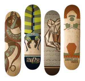 custom skateboards with snake and beetle and tiger and gorilla