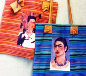 frida kahlo striped mexican market bag