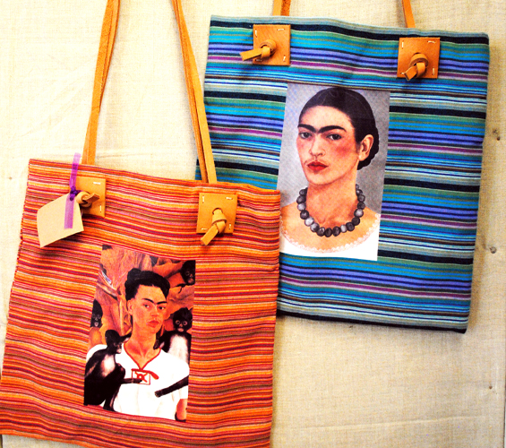mexico market striped bag with frida kahlo