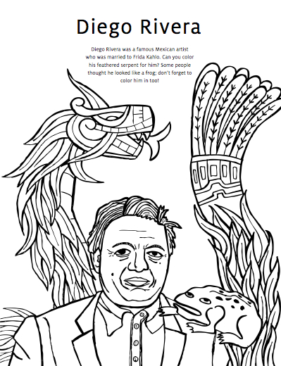 Diego Rivera Coloring Pages Amp Frida Kahlo Coloring Pages
