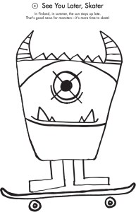 Monster Skater Coloring Page