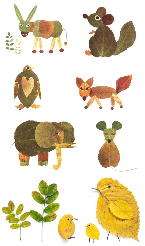animals made of leaves