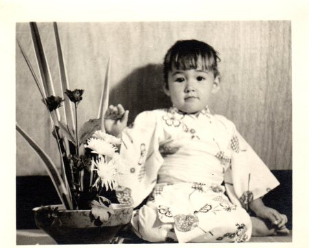 Miki as a little girl at her first Ikebana lesson.