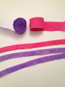 Pink and purple fringed streamers.