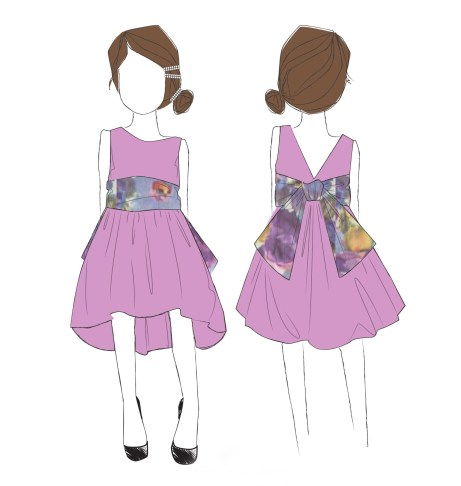 Final Sketch of Tea Collection Dress for Aubrey Anderson-Emmons 2013 Emmys