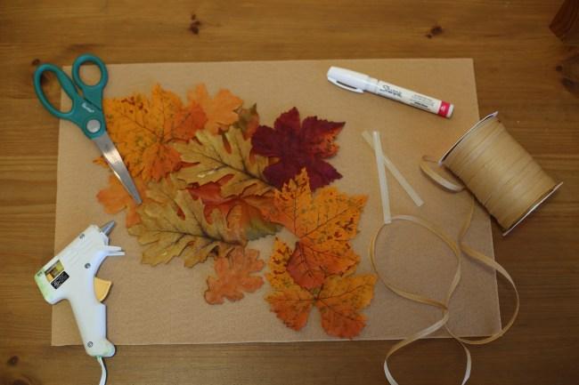 Fall DIY Leaf Crown Materials