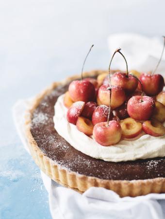 Chocolate Cherry Tart with Cardamom Cream   Teak & Thyme