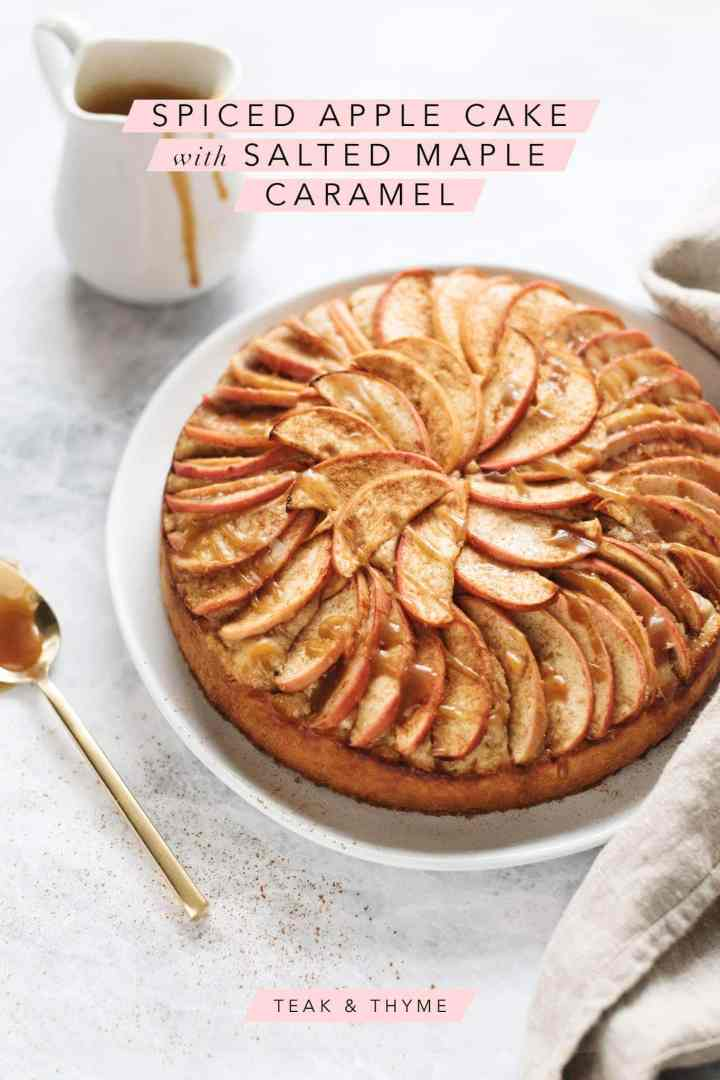 A spiced apple cake drizzled with salted maple caramel