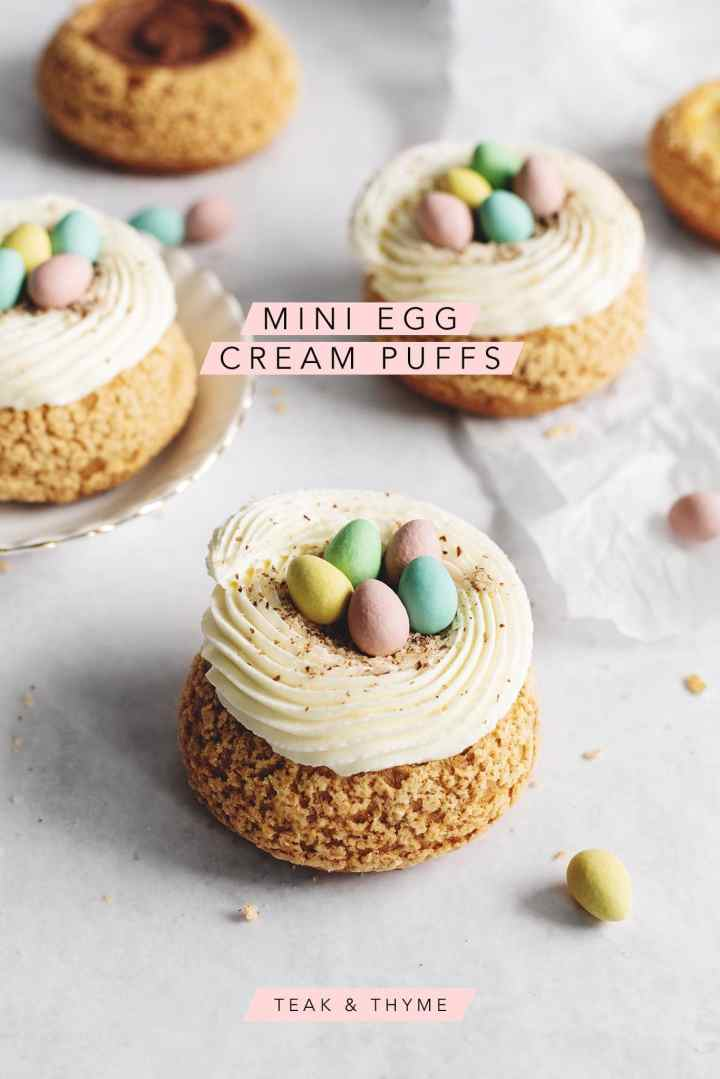 Choux au craquelin mini egg cream puffs with text overlay