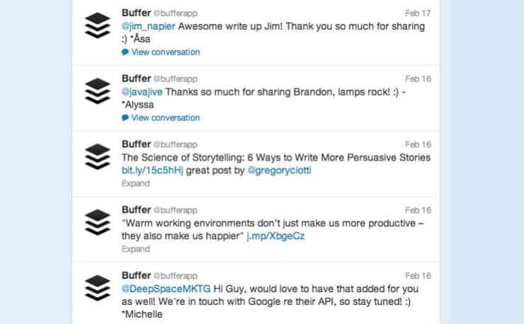 Buffer tweets
