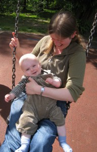 Sam with me on a swing