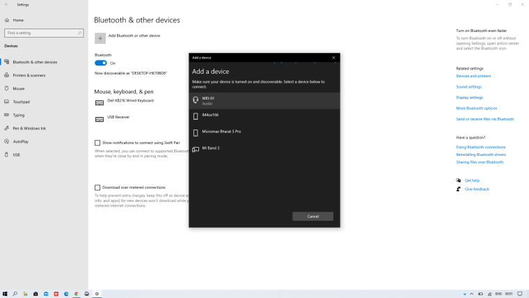 How to Pair a Bluetooth Device with Windows 10