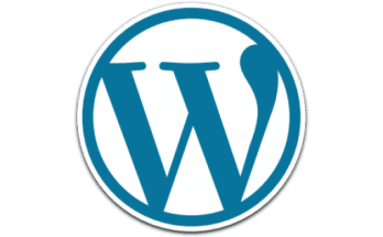 wordpress blue and white and grey logo