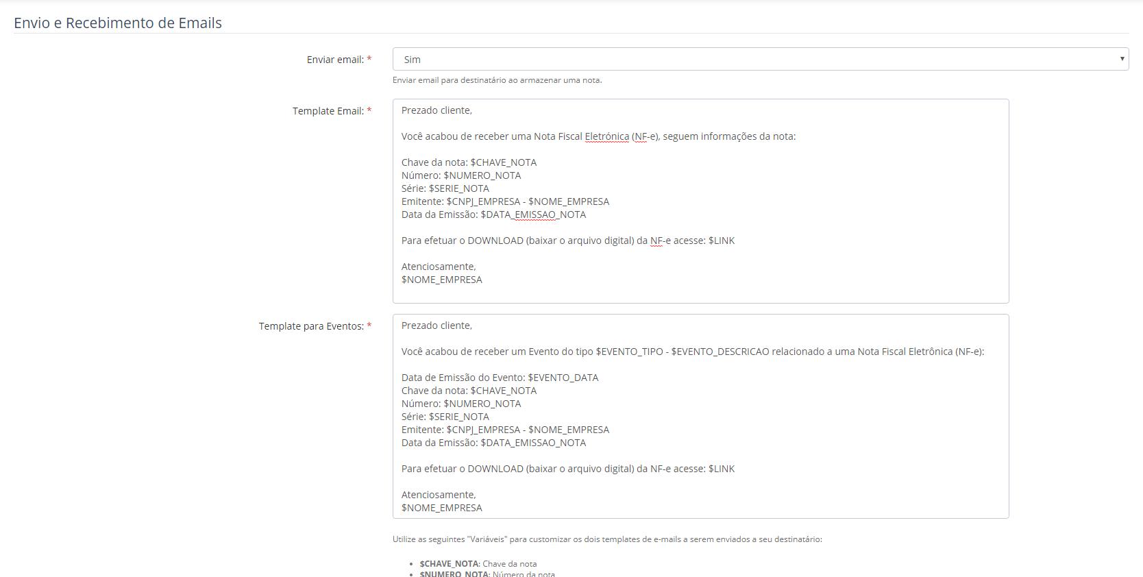 Nota Segura Configuração Envio automático de nota fiscal