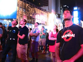 The scene in New York as the Curiosity rover landed