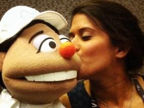 Asha de Vos meets a puppet of herself